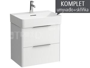 Komplet Laufen Base skříňka se 2 zásuvkami sumyvadlem Val 60 x 42 cm, bílá/lesk