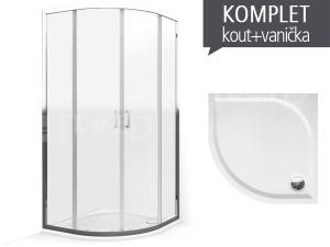 Komplet LLR 2/900 sprchový kout R550 profil:brillant, výplň:transparent + vanička Dream-M z litého mramoru 90 x 90 x 3 cm
