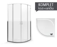 Komplet LLR 2/900 sprchový kout R550 profil:brillant, výplň:transparent + vanička Dream-M z litého mramoru 90 x 90 x 3 cm, K555-9000000-00-02, Roltechnik