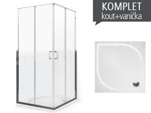Komplet LLS 2/900 sprchový kout profil:brillant, výplň:transparent + vanička Aloha-M z litého mramoru 90 x 90 x 3 cm