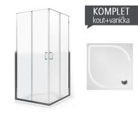 Komplet LLS 2/900 sprchový kout profil:brillant, výplň:transparent + vanička Aloha-M z litého mramoru 90 x 90 x 3 cm, K554-9000000-00-02, Roltechnik