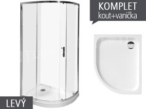 Komplet Tigo sprchový kout asymetrický 100 x 80cm profil:stříbro, výplň:transparent + vanička levá