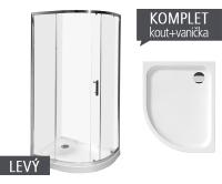 Komplet Tigo sprchový kout asymetrický 100 x 80cm profil:stříbro, výplň:transparent + vanička levá, TK51211002668_L, Jika
