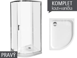 Komplet Tigo sprchový kout asymetrický 100 x 80cm profil:stříbro, výplň:transparent + vanička pravá