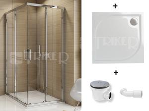 Komplet TOPAC 80 sprchový kout profil:aluchrom, výplň:čiré sklo + vanička WMQ 80 + sifon SIWM