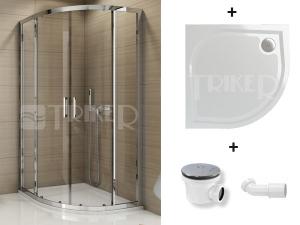 Komplet TOPR 90 sprchový kout profil:aluchrom, výplň:durlux + vanička WMR 90 + sifon SIWM