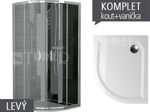 Komplet TOPR sprchový kout asymetrický 100 x 80 cm profil:aluchrom, výplň:čiré sklo + vanička levá