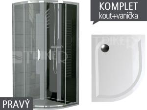 Komplet TOPR sprchový kout asymetrický 100 x 80 cm profil:aluchrom, výplň:čiré sklo + vanička pravá
