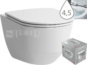 Laufen Pro klozet závěsný 49 cm kapotovaný/RIMLESS/COMPACT bílý, WC PACK se sedátkem SLIM Slowclose