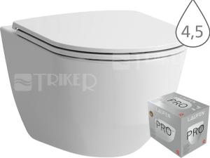 Laufen Pro klozet závěsný 53 cm kapotovaný bílý, WC PACK se sedátkem SLIM Slowclose