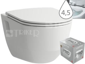 Laufen Pro klozet závěsný 53 cm RIMLESS/viditelné uchycení bílý, WC PACK se sedátkem SLIM Slowclose