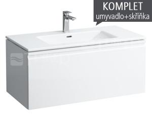 Laufen Pro S skříňka s 1+1 zásuvkou s umyvadlem 100 x 50 cm s otvorem bílá/lesk
