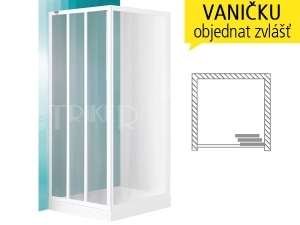 LD3 sprchové dveře LD 3/800 (760-820mm) profil:bílý, výplň:damp