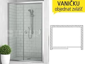 LLD2 sprchové dveře posuvné do niky LLD2/1000 (970-1005mm) profil:brillant, výplň:transparent