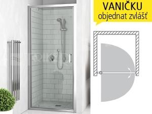 LLDO1 sprchové dveře jednokřídlé do niky LLDO1/1000 (975-1005mm), profil:brillant, výplň:transparent
