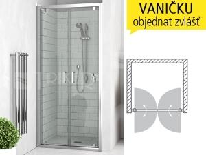 LLDO2 sprchové dveře dvoukřídlé do niky LLDO2/900 (875-905mm), profil:brillant, výplň:transparent