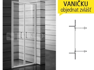 Lyra plus sprchové dveře kyvné 90 cm (860-900 mm) profil:bílý, výplň:transparent/PERLA