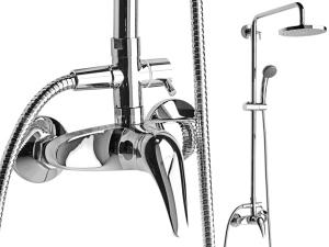 Lyra sprchová baterie s hlavovou sprchou a příslušenstvím, chrom