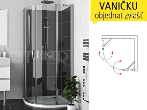 LZR2 sprchový kout LZR2/1000 (967-992mm) profil:brillant, výplň:transparent