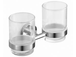 Mio držák dvojitý se skleněnými poháry chrom