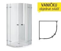 Next sprchový kout čtvrtkruhový 80 cm R450 (770-788mm) profil:chrom, výplň:čiré sklo, HKPF80222003, Kolo