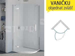 P3P Sprchové dveře čtvrtkruhové