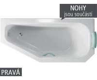 Panama vana akrylátová 160 x 75 cm, pravá, bílá včetně nohou, V110160R04T04001, Teiko