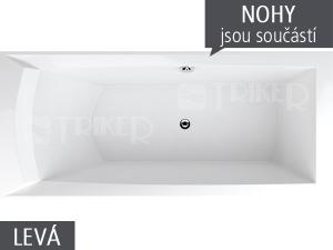 Porta vana akrylátová 170 x 76 cm, levá, bílá včetně nohou