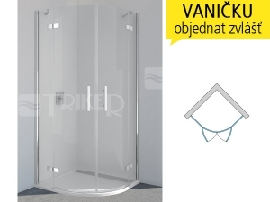 PU4P Sprchové dveře čtvrtkruhové R500 800/2000 profil:chrom,výplň:čiré