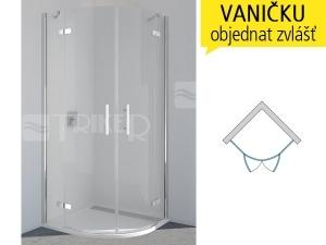 PU4P Sprchové dveře čtvrtkruhové R500 900/2000 profil:chrom,výplň:čiré