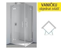PUE2P Sprchové dveře rohové levé 750/2000 profil:chrom,výplň:čiré, PUE2PG0751007