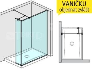 Pure boční stěna dlouhá včetně krátkého skla 120 x 20 cm, výplň:transparent
