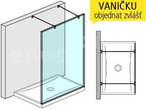 Pure pevná stěna s 2 vzpěrami 120 cm, výplň:transparent