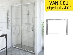 affb88cbc7e54 PXD2N sprchové dveře PXD2N/1600 (1580-1630mm), profil:brillant,  výplň:satinato