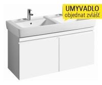 Renova Nr.1 Plan skříňka se 2 zásuvkami pod dvojumyvadlo 130 cm, lesklá bílá, 869130000, Keramag
