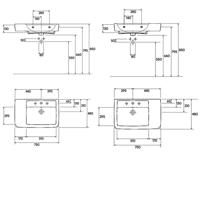 renova nr 1 plan umyvadlo 75 x 48 cm asymetrick s. Black Bedroom Furniture Sets. Home Design Ideas