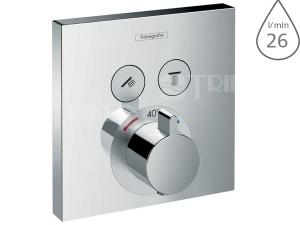 Shower select vanová baterie podmítková termostatická pro 2 spotřebiče, chrom
