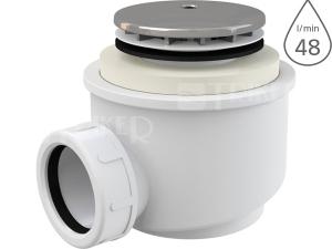 Sifon sprchový s krytkou A47CR pro vaničky s otvorem 50mm, krytka chrom