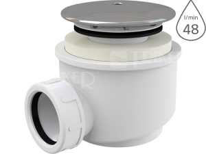 Sifon sprchový s krytkou A47CR pro vaničky s otvorem 60 mm, krytka chrom