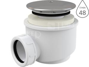 Sifon sprchový s krytkou A47CR pro vaničky s otvorem 60mm, krytka chrom