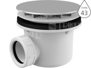 Sifon sprchový s krytkou A49CR pro vaničky s otvorem 90mm, krytka chrom