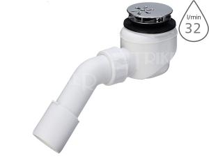 Sifon sprchový s krytkou DOMOPLEX 6928EX pro vaničky s otvorem 52mm, krytka chrom