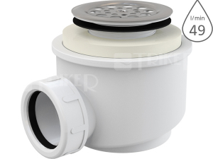 Sifon sprchový s mřížkou A46 pro vaničky s otvorem 50 mm, mřížka nerez