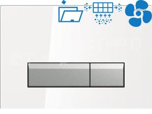 Sigma40 ovládací tlačítko s odsáváním zápachu bílé sklo/kartáčovaný hliník