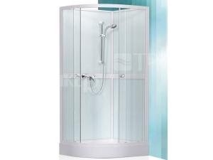 Simple sprchový box 800 profil:bílý, výplň:transparent + vanička a baterie