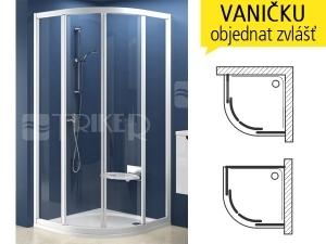 SKCP4 sprchový kout SKCP4-90 R500 (875-895mm) profil:bílý, výplň:transparent