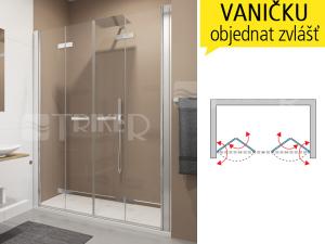 SLF2 Sprchové dveře 1600/1950 profil:aluchrom, výplň:čiré