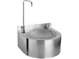 SLUN 62S Nerezová pitná fontána závěsná s tlačnou armaturou/armaturou pro napouštění sklenic