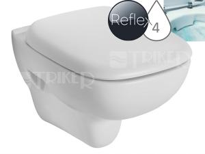 Style klozet závěsný 51cm Rimfree bez splachovacího kruhu bílý+Reflex