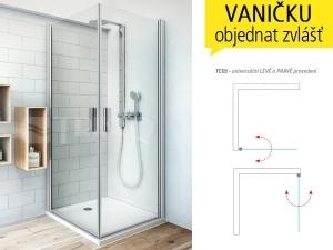 TCO1 sprchové dveře jednokřídlé TCO1/800 (775-795mm) profil:stříbro, výplň:transparent
